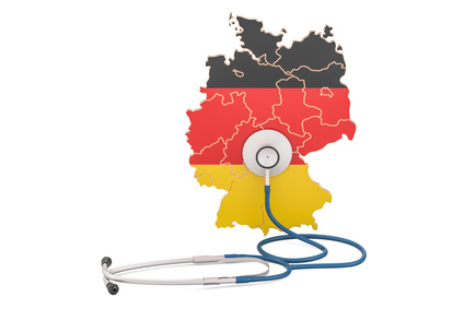 German map with stethoscope, national health care concept, 3D rendering
